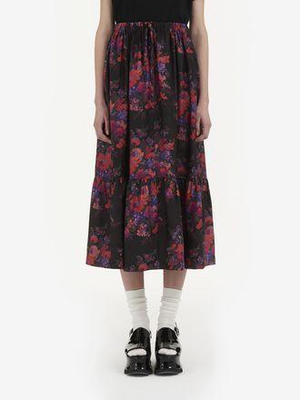 Jupe corolle avec motif à fleurs vintage