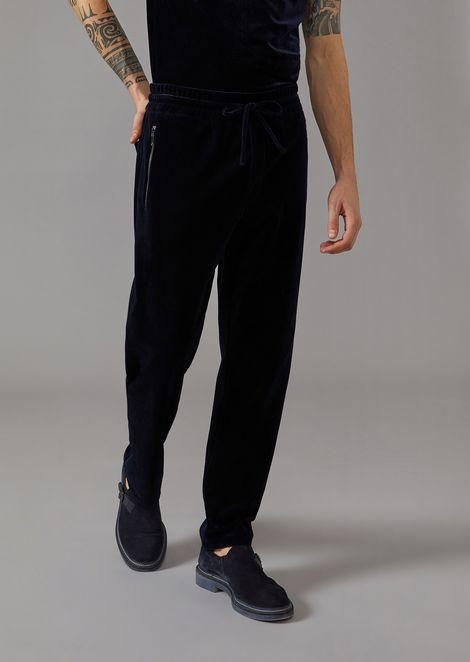 Drawstring trousers in velvet