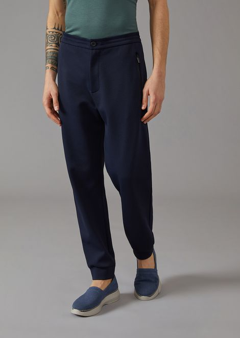 Trousers in mesh-effect double jacquard fabric