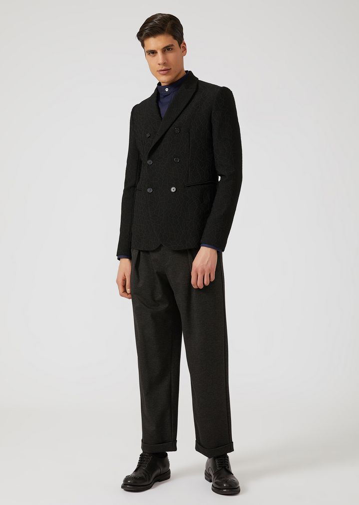 EMPORIO ARMANI Stretch jersey trousers with removable belt Casual Trousers Man d
