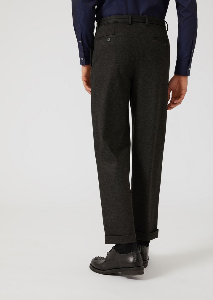 EMPORIO ARMANI Stretch jersey trousers with removable belt Casual Trousers Man e