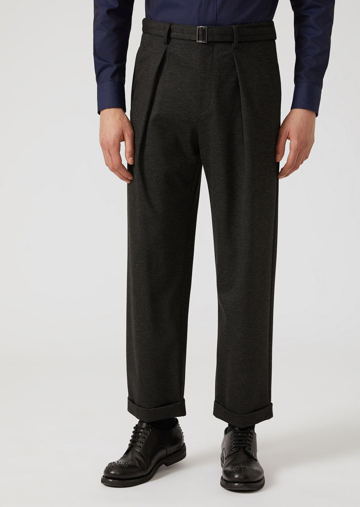 EMPORIO ARMANI Stretch jersey trousers with removable belt Casual Trousers Man f