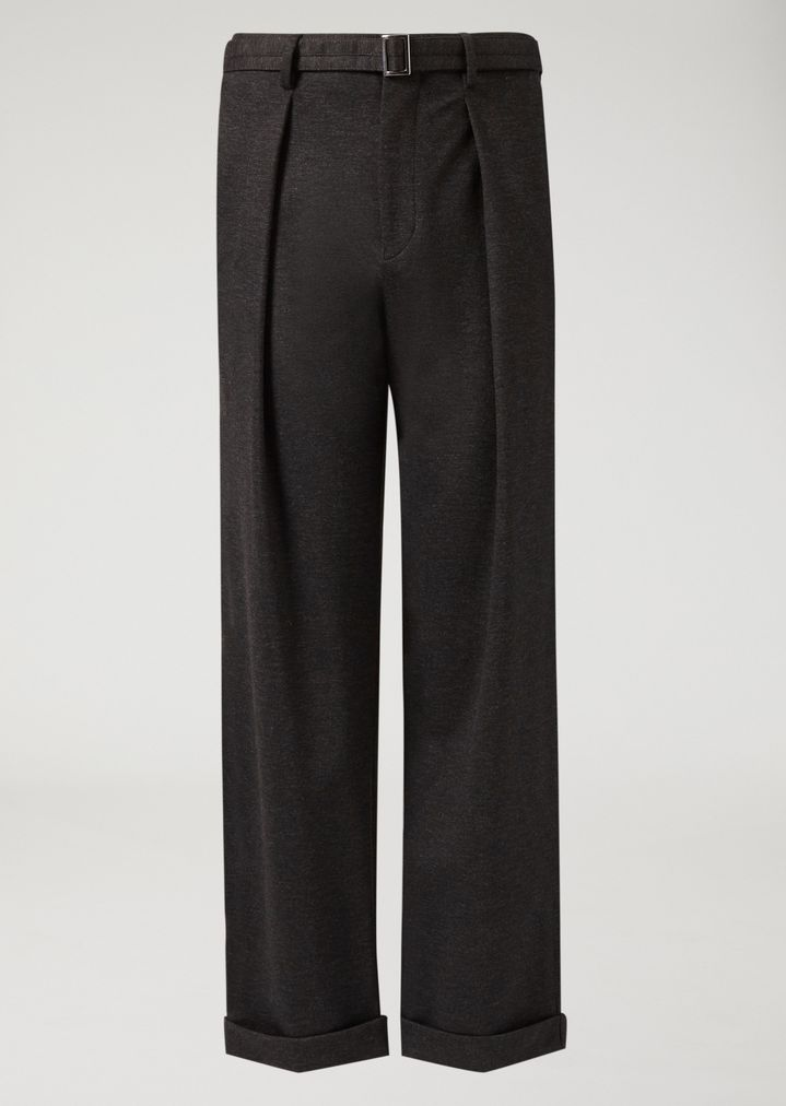 EMPORIO ARMANI Stretch jersey trousers with removable belt Casual Trousers Man r