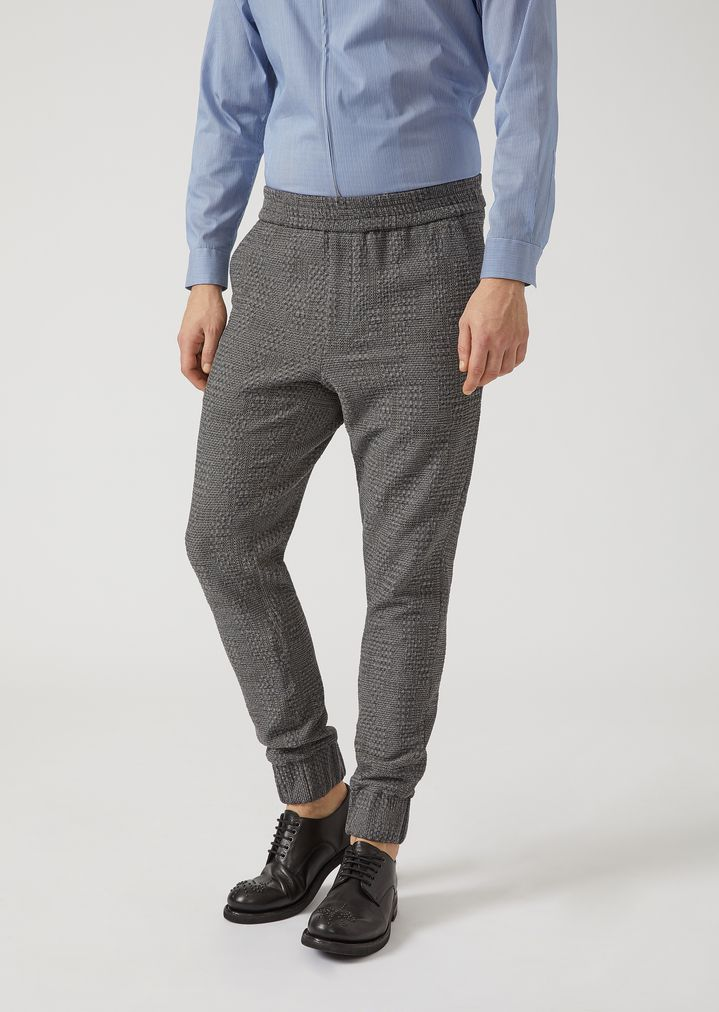 049034ff63 Jersey jogger-style trousers with geometric pattern | Man | Emporio ...