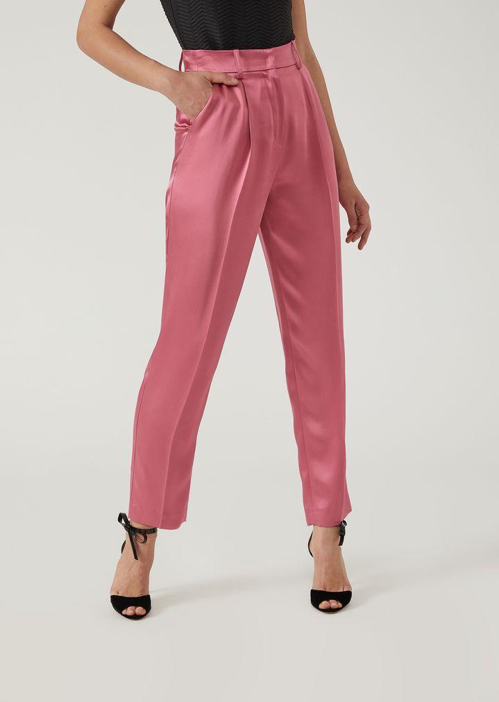 25b53ba64 Pantalones con pinzas de raso doble satinado