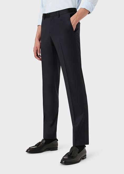 Formal trousers with satin waistband and side stripe