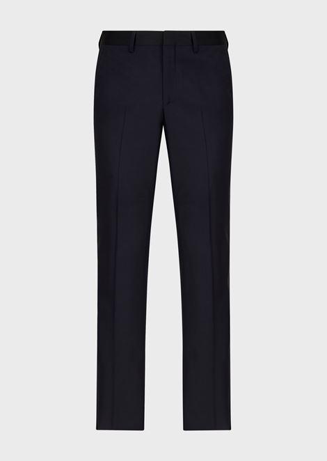 吸烟装长裤,腰身及侧面点缀缎面饰带