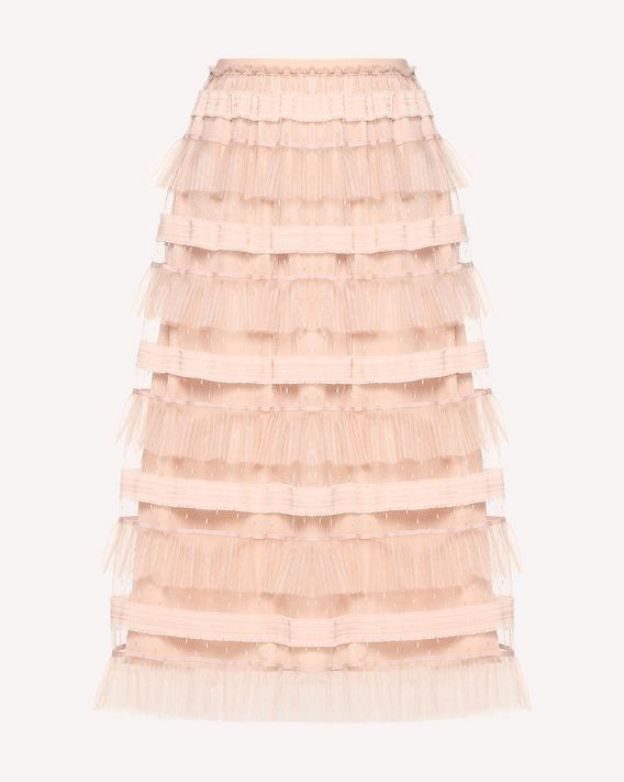 REDValentino Embroidered ribbon tulle skirt