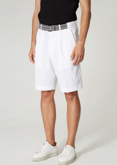Bermuda shorts in stretch cotton with a belt
