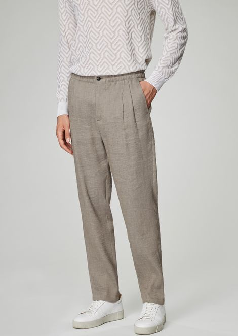 Pleated pants in washed, striped basket weave linen blend