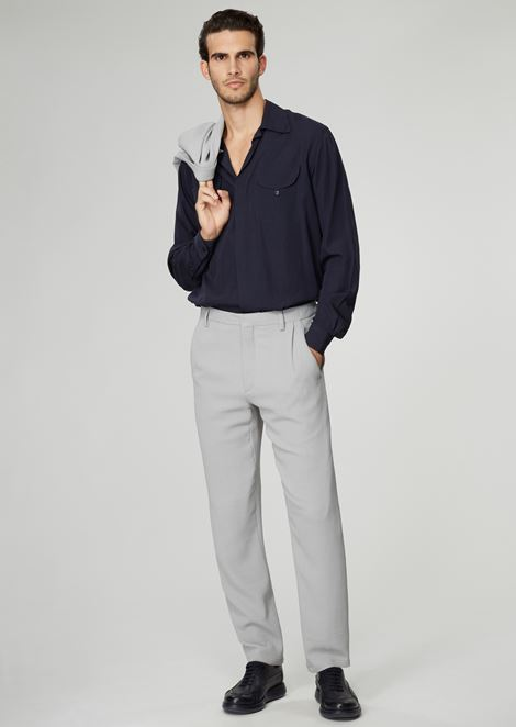 Pleated trousers in washed ottoman