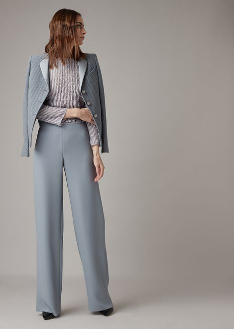 Cropped trousers in plain-coloured silk blend cady