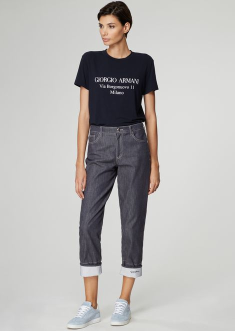 Wide-fit jeans in washed stretch cotton denim