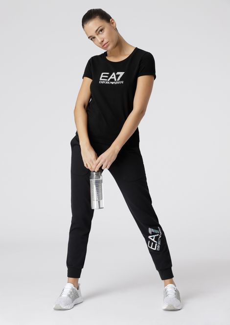 Stretch cotton jogging trousers with logo print