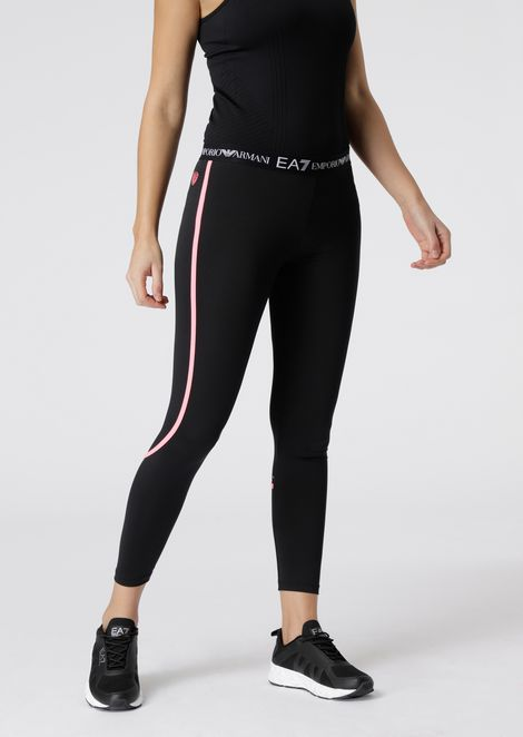 Stretch fabric leggings with logo strap