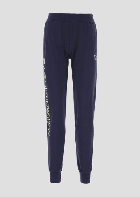 Stretch cotton jogging pants with logo print