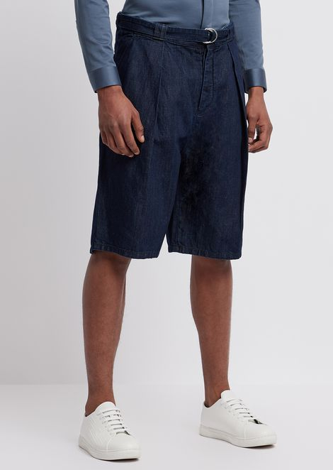 Bermuda shorts with belt in 8oz right-hand cotton and linen denim