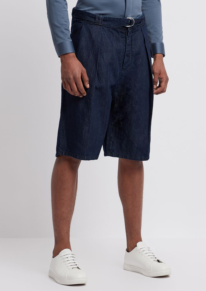 b498d4a17f Bermuda shorts with belt in 8 oz right-hand cotton denim and linen