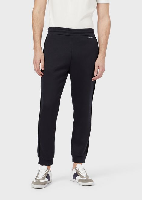 Jogging trousers in double-thickness micromodal jersey with chenille tape