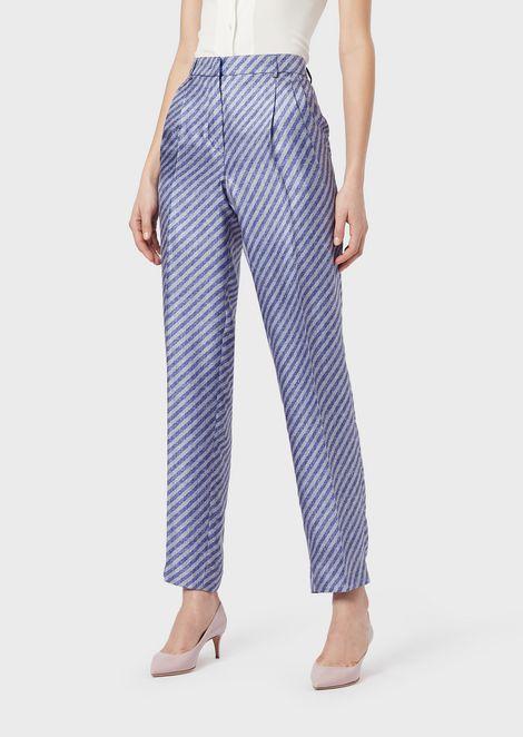 Trousers in printed silk twill