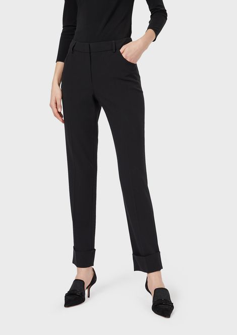 Cigarette trousers in stretch wool crepe