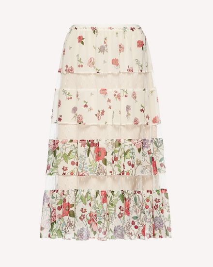Cherry Blossom printed muslin skirt with inserts