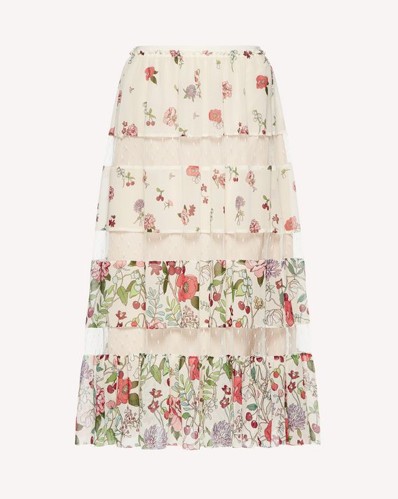 REDValentino Cherry Blossom printed muslin skirt with inserts