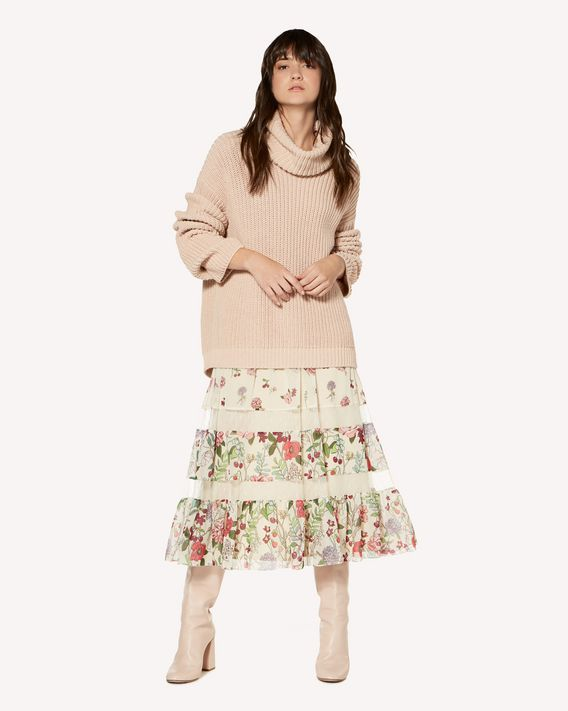 REDValentino Muslin skirt with Cherry Blossom print and inserts