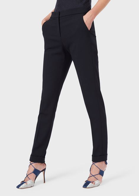 Slim-fit trousers in stretch wool crepe