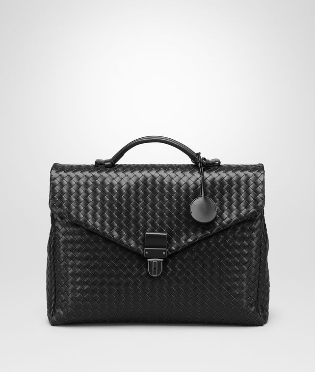 BOTTEGA VENETA SMALL BRIEFCASE IN NERO INTRECCIATO VN Business bag Man fp