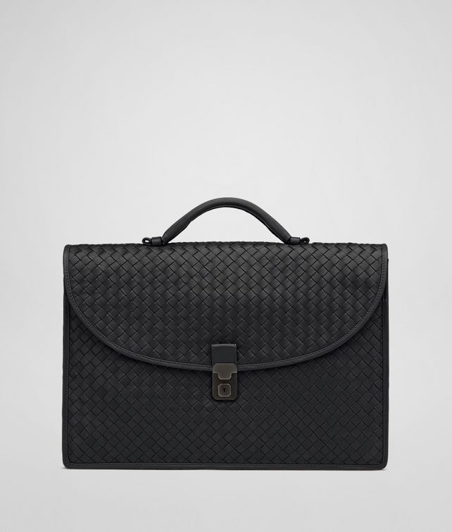 BOTTEGA VENETA Nero Intrecciato Light Calf Briefcase Business bag U fp