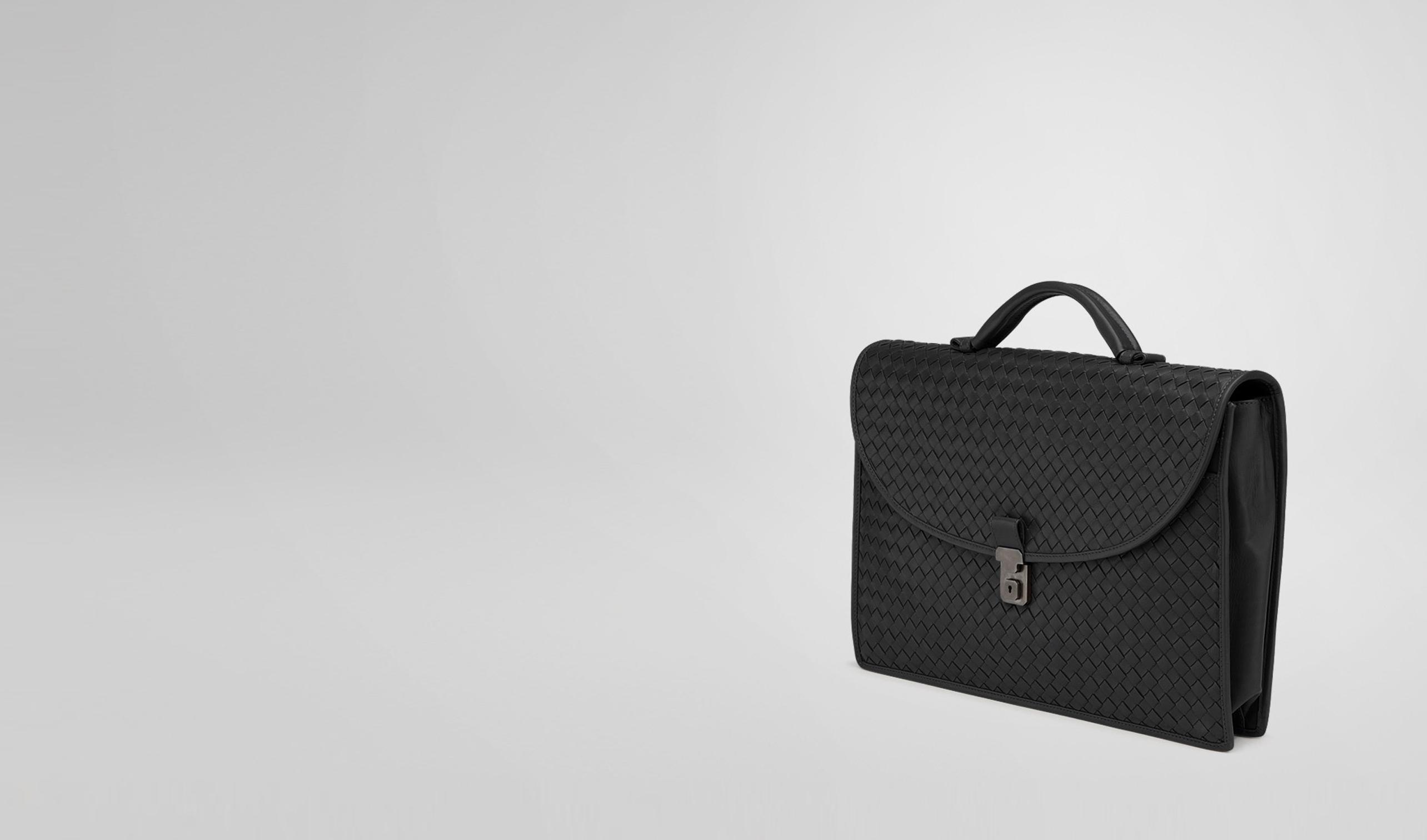 BOTTEGA VENETA Business Tasche U Aktentasche aus leichtem Kalbsleder Intrecciato Nero pl