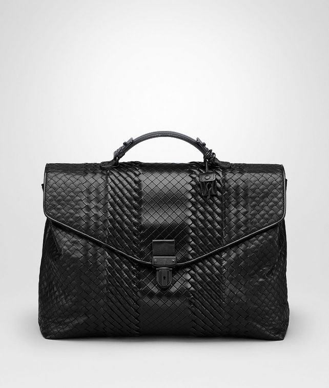 BOTTEGA VENETA BRIEFCASE IN NERO INTRECCIO IMPERATORE Business bag Man fp