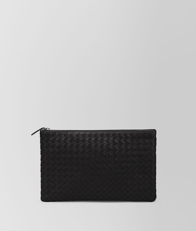 BOTTEGA VENETA NERO INTRECCIATO NAPPA MEDIUM BILETTO Pouch E fp