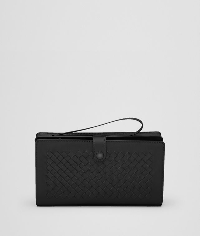 BOTTEGA VENETA MULTI-FUNCTIONAL CASE IN NERO CALF, INTRECCIATO DETAILS Small bag U fp