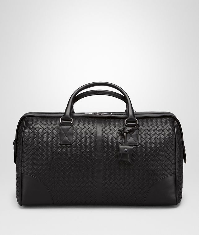 BOTTEGA VENETA MEDIUM DUFFEL BAG IN NERO INTRECCIATO VN Travel Bags E fp
