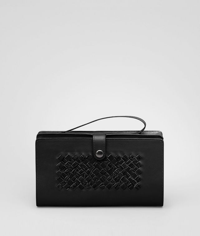 BOTTEGA VENETA MULTI-FUNCTIONAL CASE IN NERO CALF AND CROCODILE, INTRECCIATO DETAILS Small bag U fp