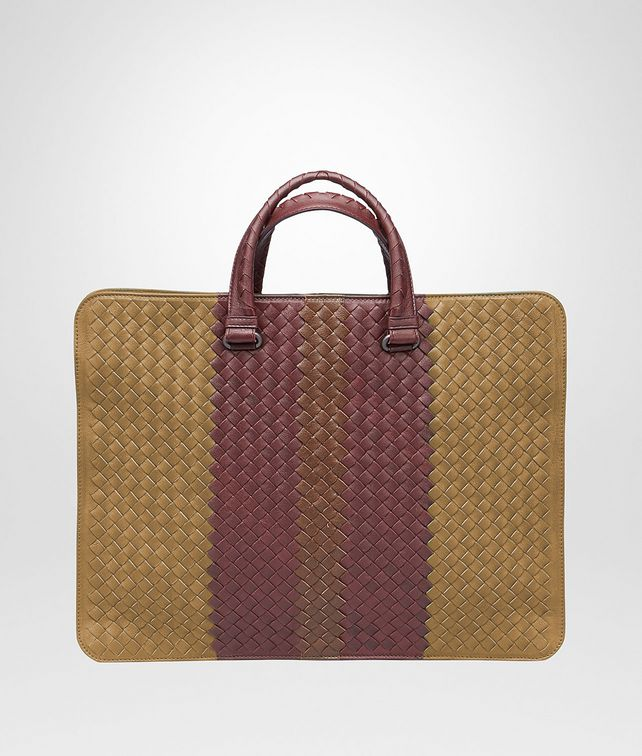 BOTTEGA VENETA AKTENTASCHE AUS CLUB FUMÉ INTRECCIATO NEW BRONZE, AUBERGINE UND EDOARDO Business Tasche U fp