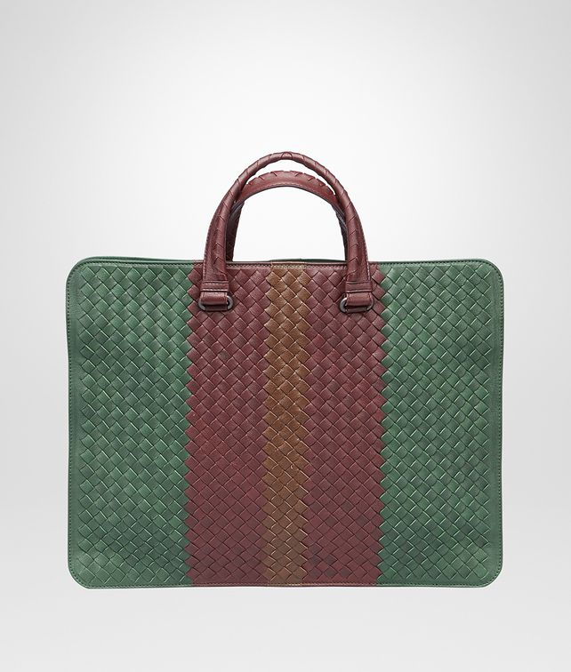 BOTTEGA VENETA AKTENTASCHE AUS CLUB FUMÉ INTRECCIATO EMERALD GREEN, AUBERGINE UND EDOARDO Business Tasche U fp