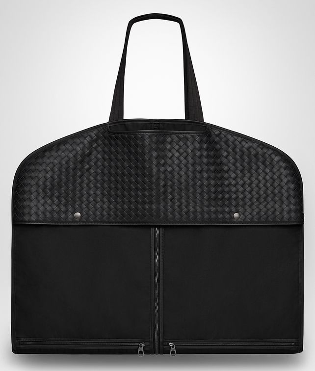 BOTTEGA VENETA GARMENT BAG IN NERO TECHNICAL CANVAS E VITELLO INTRECCIATO Other Leather Accessory E fp