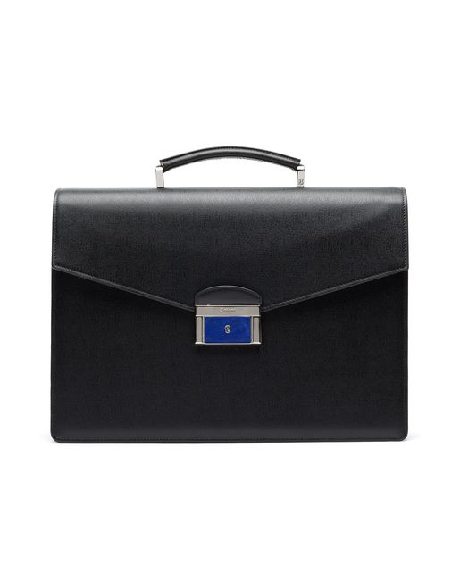 Black Saffiano Briefcase with Lapis Lazuli