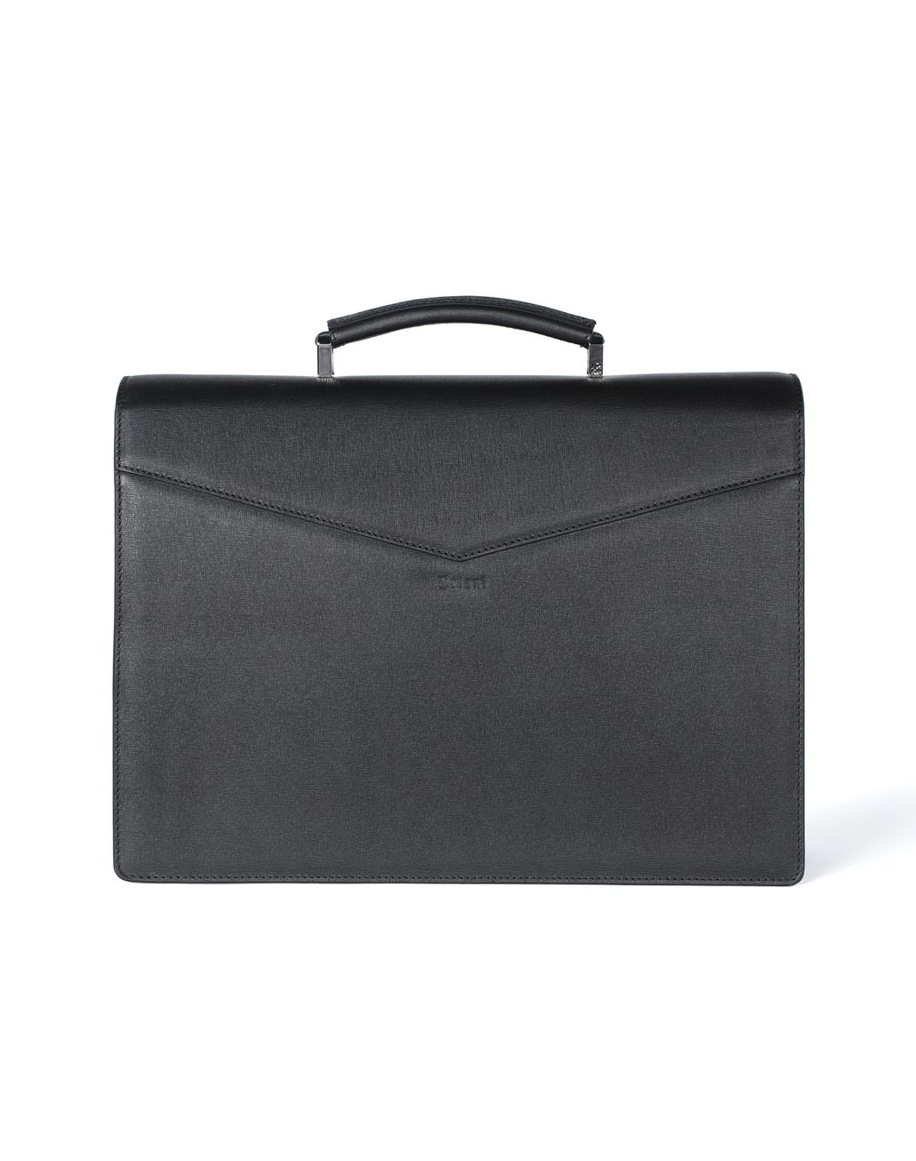 BRIONI Black Saffiano Briefcase with Lapis Lazuli Bag Man e