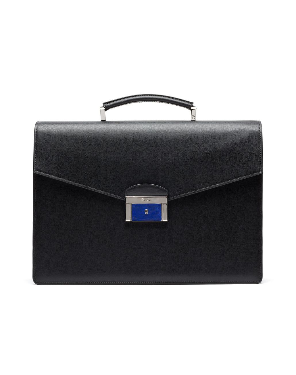 BRIONI Black Saffiano Briefcase with Lapis Lazuli Bag Man f