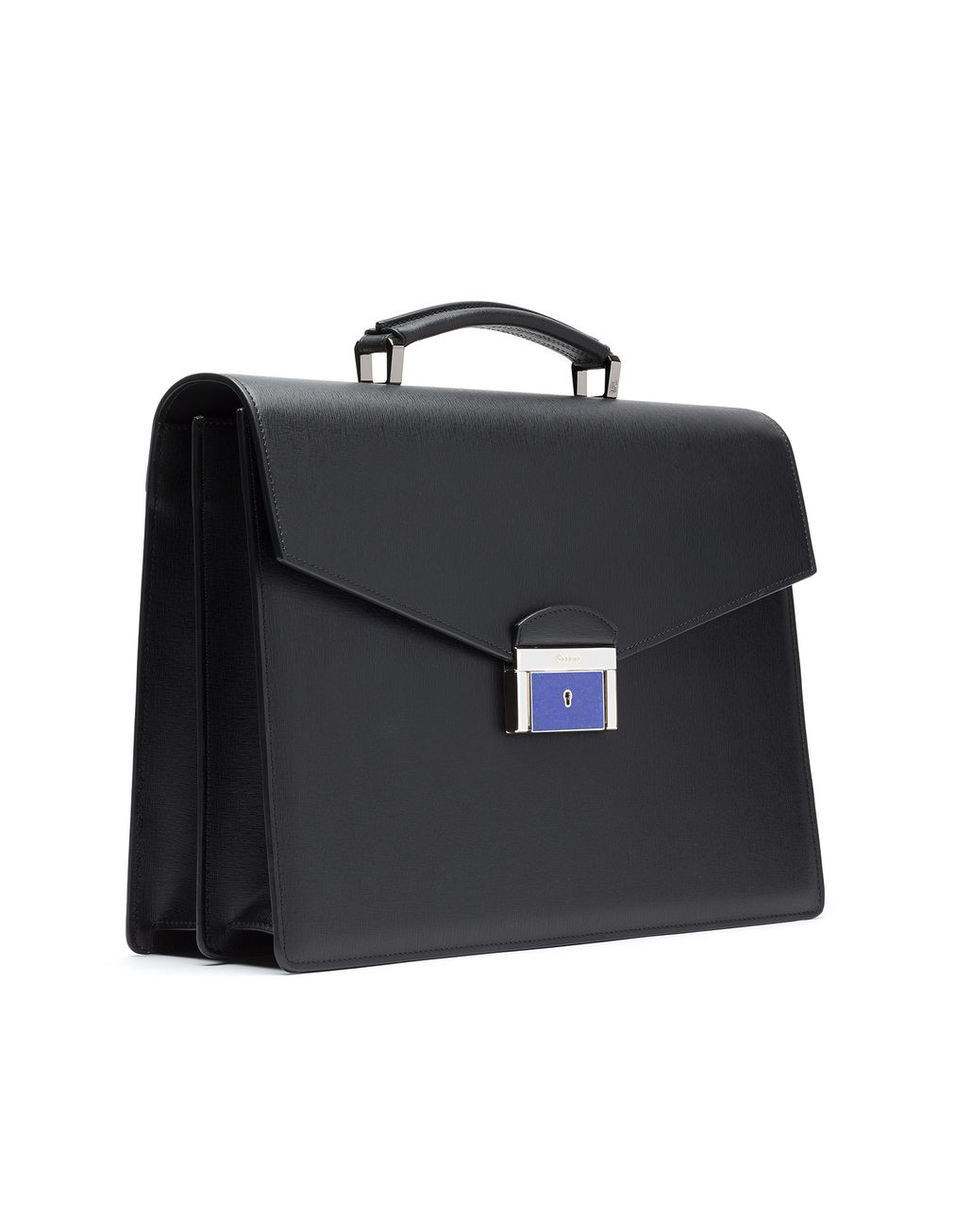 BRIONI Black Saffiano Briefcase with Lapis Lazuli Bag Man r
