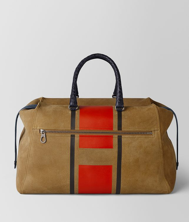 BOTTEGA VENETA DARK CAMEL TERRACOTTA VIALINEA DOUBLE SUEDE DUFFLE Luggage [*** pickupInStoreShippingNotGuaranteed_info ***] fp