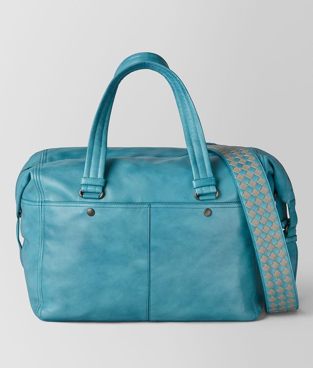 BOTTEGA VENETA AQUA INTRECCIATO CHECKER DUFFLE Luggage [*** pickupInStoreShippingNotGuaranteed_info ***] fp
