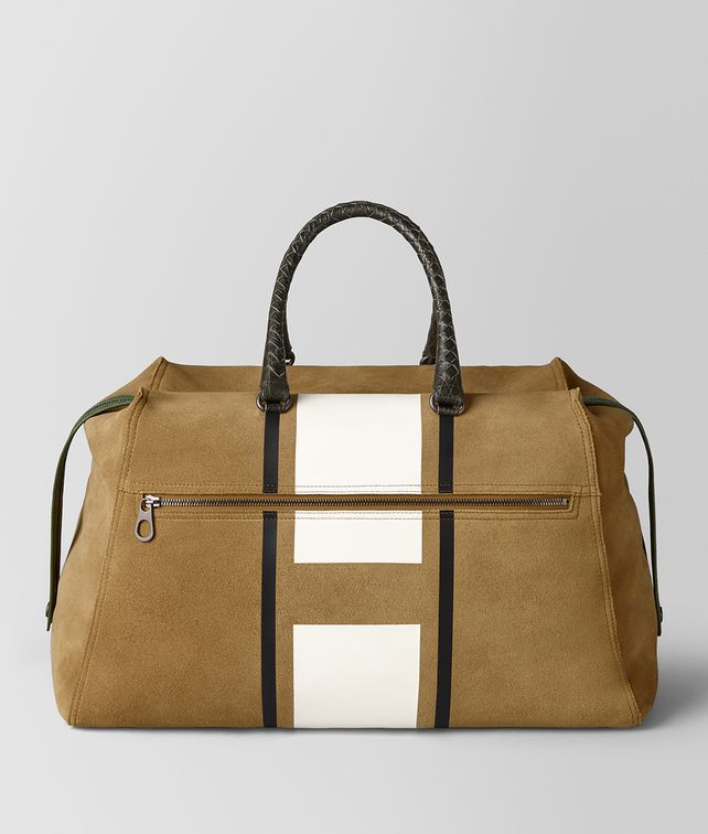 BOTTEGA VENETA DARK CAMEL LATTE VIALINEA DOUBLE SUEDE DUFFLE Luggage [*** pickupInStoreShippingNotGuaranteed_info ***] fp