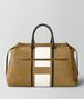 BOTTEGA VENETA DARK CAMEL LATTE VIALINEA DOUBLE SUEDE DUFFLE Luggage Man fp