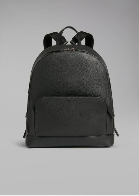 02f8a424ce2e Backpack in grainy calfskin with embossed logo