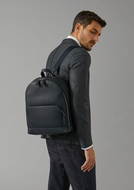 Backpack in grainy calfskin with embossed logo